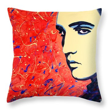 Elvis Presley - Red Blue Drip Throw Pillow by Bob Baker