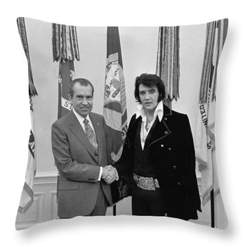 Elvis Presley And Richard Nixon-featured In Men At Work Group Throw Pillow