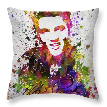 Elvis Presley In Color Throw Pillow