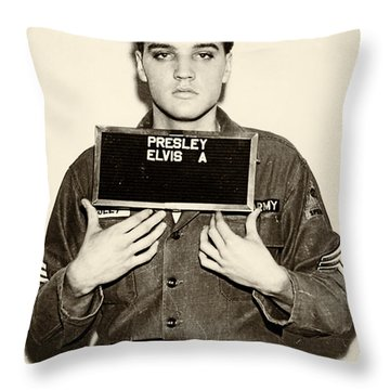 Elvis Presley - Mugshot Throw Pillow by Bill Cannon