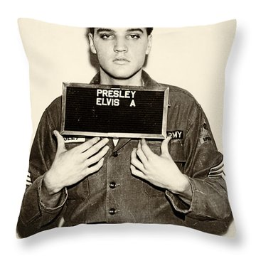 Elvis Presley - Mugshot Throw Pillow