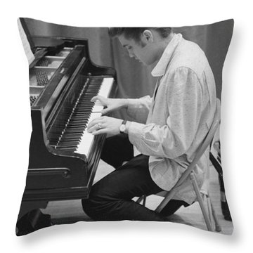 Elvis Presley On Piano While Waiting For A Show To Start 1956 Throw Pillow