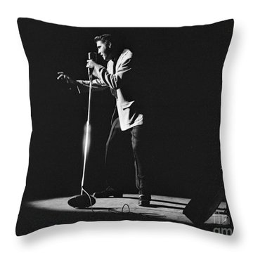Elvis Presley On Stage In Detroit 1956 Throw Pillow by The Harrington Collection