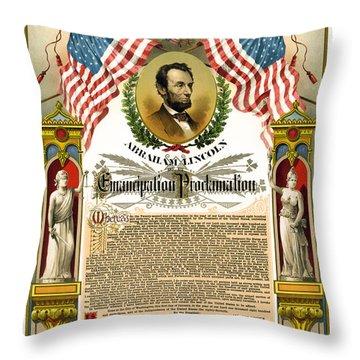 Emancipation Proclamation Tribute 1888 Throw Pillow by Daniel Hagerman