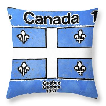Throw Pillow featuring the digital art Emblem Du Quebec by Mario Carini