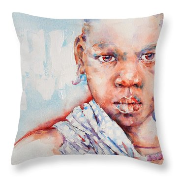 Embolden - African Portrait Throw Pillow by Stephie Butler