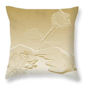 Embossed Gold Rose By Jan Marvin Studios Throw Pillow