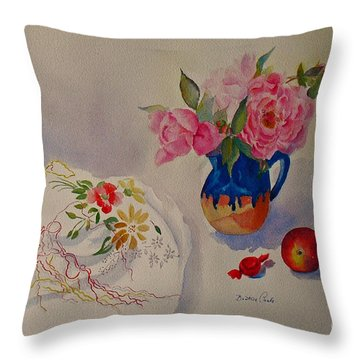 Embroidery And Roses Throw Pillow