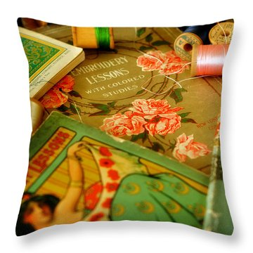 Embroidery Lessons Early 1900s Throw Pillow by Rebecca Sherman