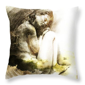 Throw Pillow featuring the drawing Embryonic Drawing Textured by Paul Davenport