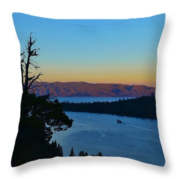 Emerald Bay Sunset Throw Pillow