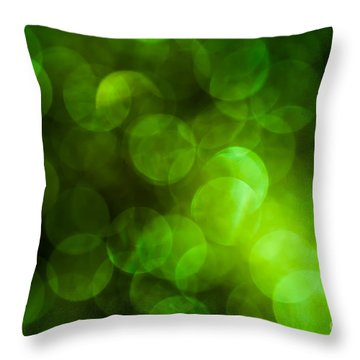 Emerald Bokeh Throw Pillow