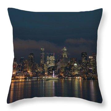 Emerald City At Night Throw Pillow