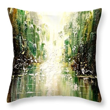 Throw Pillow featuring the painting Emerald City Falls by Patricia Lintner
