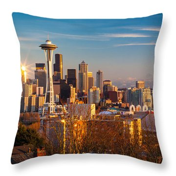 Emerald City Sunset Throw Pillow by Inge Johnsson