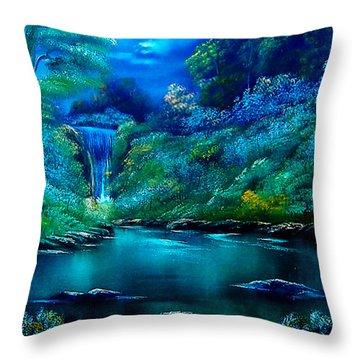 Emerald Falls 2 Throw Pillow by Cynthia Adams