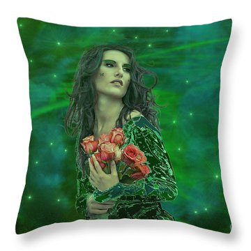 Emerald Universe Throw Pillow