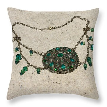 Emerald Vintage New England Glass Works Brooch Necklace 3632 Throw Pillow by Teresa Mucha