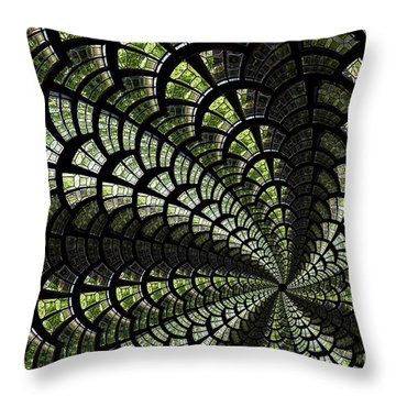 Emerald Whirl. Throw Pillow by Clare Bambers