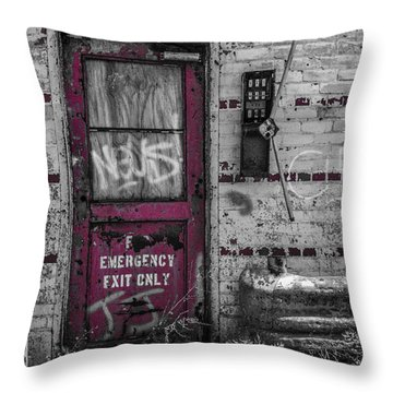 Emergency Exit Throw Pillow