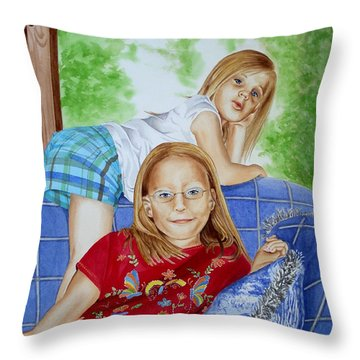 Emi And Mackenzie Throw Pillow by Debbie Hart
