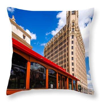Emily Morgan Hotel And Red Streetcar - San Antonio Texas Throw Pillow