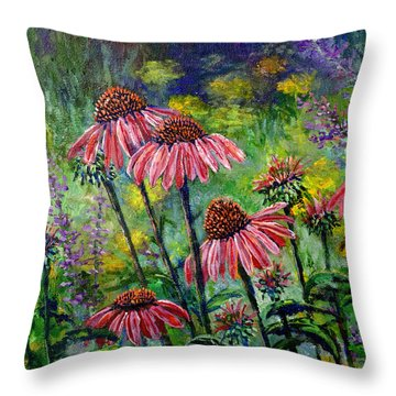 Throw Pillow featuring the painting Emily's Flowers by Lou Ann Bagnall
