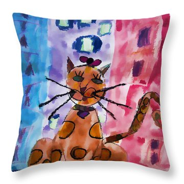 Emma's Spotted Kitty Throw Pillow by Alice Gipson