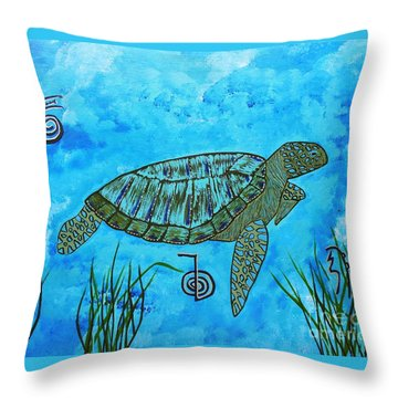 Emotional Healing With The Sea Turtle Throw Pillow