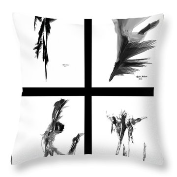 Emotions In Black - Abstract Quad Throw Pillow by Rafael Salazar