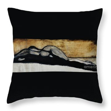 Throw Pillow featuring the drawing Emotive 2 by Michael Cross