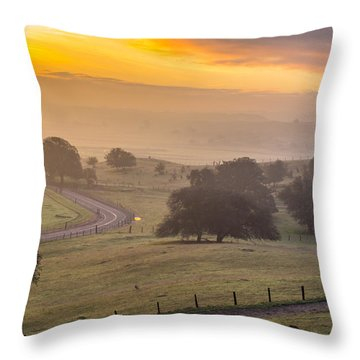 Empire Mine Road At Sunrise Throw Pillow by Marc Crumpler