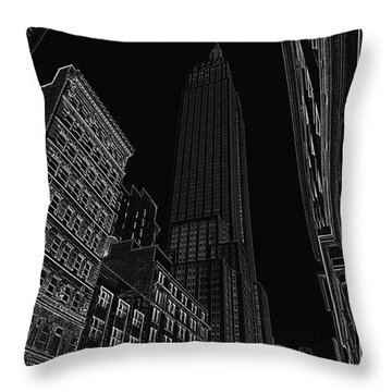 Empire Nyc White On Black Throw Pillow by Meandering Photography
