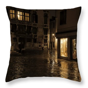 Winter's Night In Venice Throw Pillow by Marion Galt
