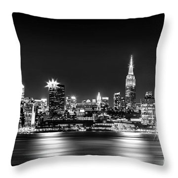 Empire State At Night - Bw Throw Pillow by Az Jackson