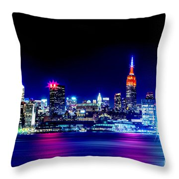 Empire State At Night Throw Pillow by Az Jackson