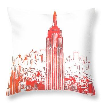 Empire State Building And Manhattan Skyline Sketch Throw Pillow