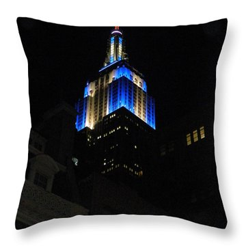 Empire State Building At Night Throw Pillow