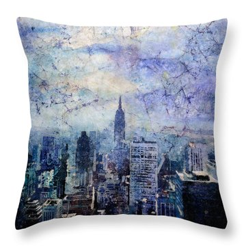 Empire State Building In Blue Throw Pillow