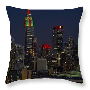 Empire State Building In Christmas Lights Throw Pillow by Susan Candelario