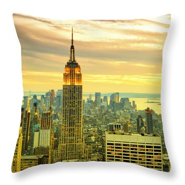 Empire State Building In The Evening Throw Pillow by Sabine Jacobs