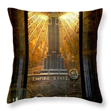 Empire State Building - Magnificent Lobby Throw Pillow by Miriam Danar