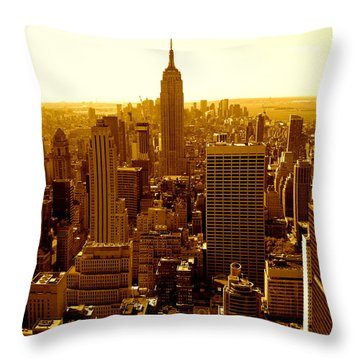 Manhattan And Empire State Building Throw Pillow