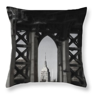 Empire State Building Through Manhattan Bridge Throw Pillow