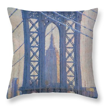 Empire State Building Through The Manhattan Bridge Throw Pillow