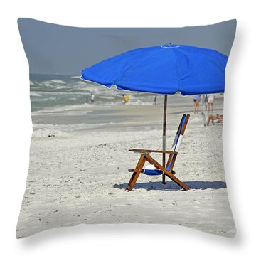 Throw Pillow featuring the photograph Empty Beach Chair by Charles Beeler