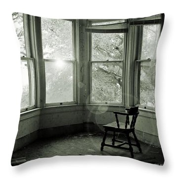 Empty Chair Bw Throw Pillow