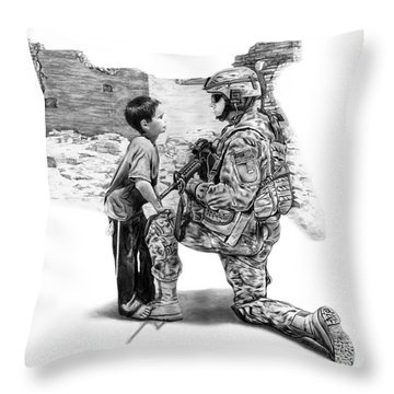 Throw Pillow featuring the drawing Empty Pockets  by Peter Piatt