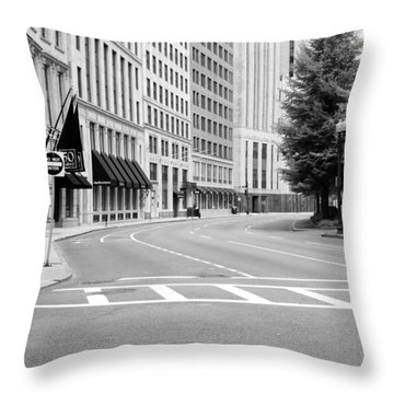 Empty Street In Boston Throw Pillow