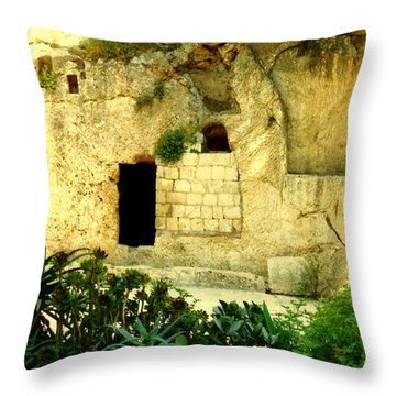 Empty Tomb Of Jesus Throw Pillow by Lou Ann Bagnall
